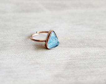 Rose Gold Ring with Raw Flourite Stones