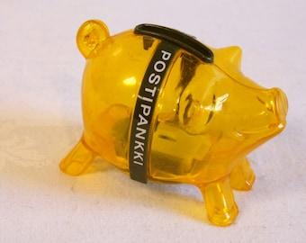 Vintage 1980s Yellow Retro Finnish Piggy Bank by Postipankki