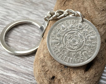 64th or 65th birthday gift, 1954, 1953 coin keyring, british coin keychain, 2 two shilling, UK retirement, anniversary present for him, man