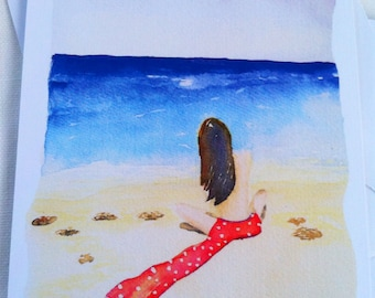 Girl on beach watercolor illustration flat note card