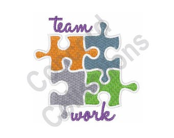 Team Work - Machine Embroidery Design, Puzzle, Puzzle Pieces