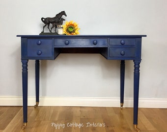 NOW SOLD- Hand painted navy blue desk