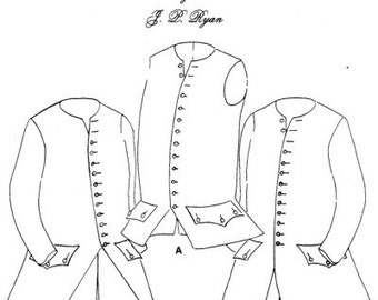 JPR01 - JP Ryan #01, 18th Century Waistcoat with or without Sleeves Sewing Pattern