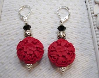 Oriental Carved Red Cinnabar Black Swarovski Crystal Elements Earrings