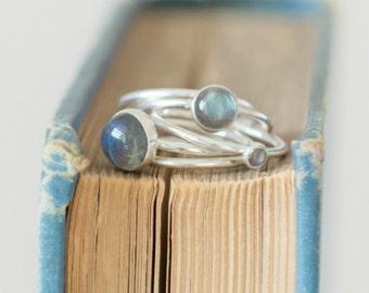 Stacking Rings - Labradorite Ring - Silver Stacking Ring - Sterling Silver Stacking Ring - STORM- stackable mothers ring