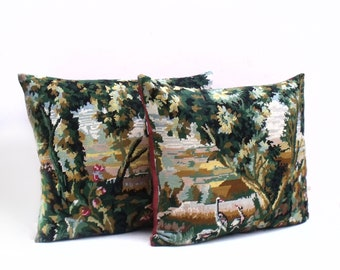 PAIR of French Vintage Needlepoint tapestry  Verdure Pillows reworked with antique french strie silk Cushion Coussin