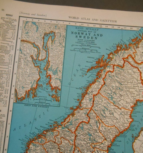 Old vintage atlas map norway and sweden 1940s antique wall gumiabroncs Images