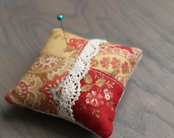 Little Red and Gold Pincushion Shabby Pin Keep Small Red Floral Pin Cushion Pillow