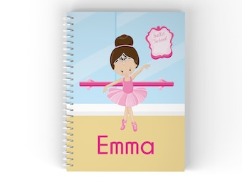 Ballerina Personalized Notebook - Ballet Class Ballerina Crown Ballet Room with Name, Customized Spiral Notebook Back to School