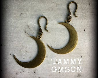 Crescent Moon ear weights Bronze Ear weights Moon ear weights Pagan ear weights Stretched ears Gauges Tapers Tunnels Gauges 00g 0g 2g 4g 6g