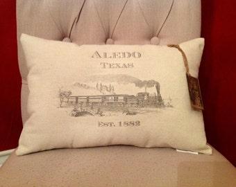 Aledo and Vintage Train Pillow