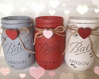 Valentine Jars. Painted Mason Jar. Valentine Decor. Home Decor. Valentine Gift. Mothers Day Gift. Teachers Gift. Birthday.