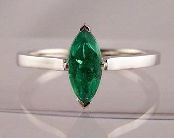 Emerald Ring, Emerald Gold Ring, White 14K Gold Ring, Real Emerald Ring, Emerald Ring, Best Buy, Hi Fi Gift Ring, Size 4.5.6.7.8.9,10