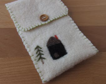 Forest Cabin Felted Wool Pouch