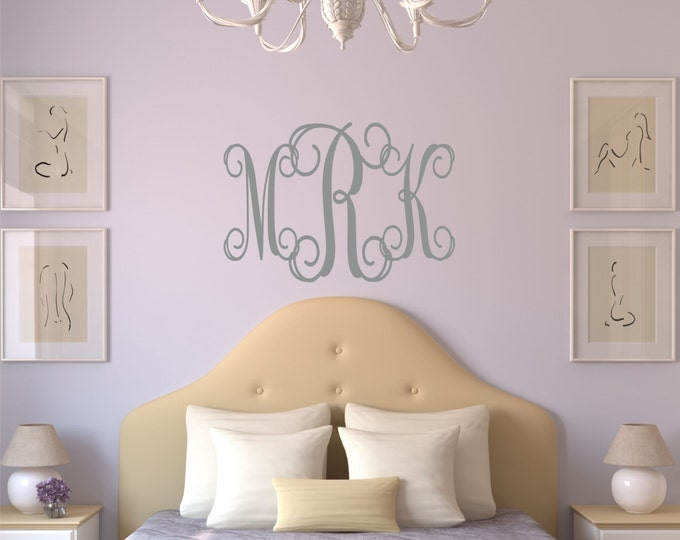 Dorm Room Decor College Dorm Room Removable Wall Decal College Student Gift Monogram