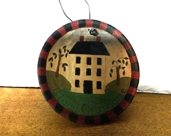 Miniature Hand Painted Wall Hanging Bowl / Bless Our Home