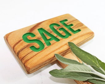 SAGE Herb Garden Sign, Painted & Oil Sealed Cedar Wood: Hand Routed, Plant Marker, Herb Marker, Custom Garden Sign, Personalized Marker