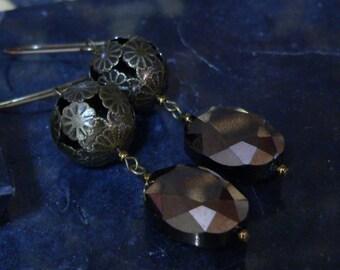 Crystal earrings, brown earring, dangle earring, filigree earring, bold earring, boho earrings, crystal dangle, gift for women
