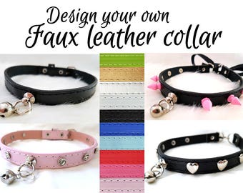 Faux/Vegan Leather Collar [Design Your Own] Black/Pink/Blue/White/Red/Green/Silver/Gold Buckle Punk Goth Alt Kitten/Pet Play DDLG BDSM