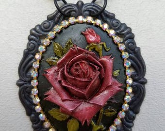 Rose Necklace, Flower Necklace, Cameo Necklace, Statement Necklace, Tassel Necklace, Black Necklace, OOAK Necklace, Hand Painted