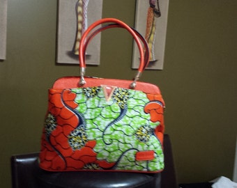 Fabric bag African wax green - orange