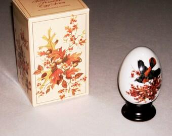 Vintage Porcelain Egg Collectible Autumn Vintage 1980s Four Seasons Egg Series Wood Display Base Glass Art Collectibles Original Box Egg