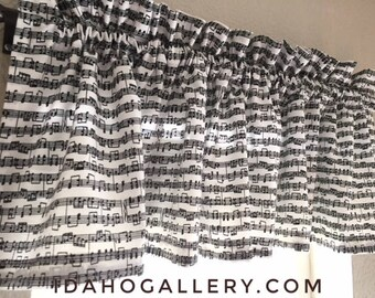 Music Decor Musical Notes Tunes Songs Keys Black and White Short Curtain Decorative Kitchen Curtain Sheet Music Lovers Valance
