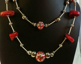 Mexican inspired coral and silver necklace