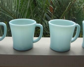 Vintage Anchor Hocking Fire King Turquoise Blue Mugs