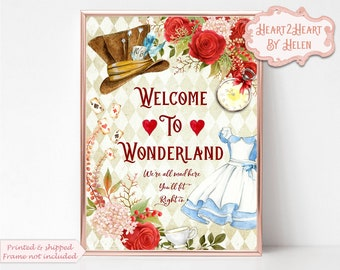 Alice in Wonderland Print, Welcome to Wonderland, We're all mad here, Wonderland Quote, Mad Hatter, Cheshire Cat, Home Decor, Nursery Print