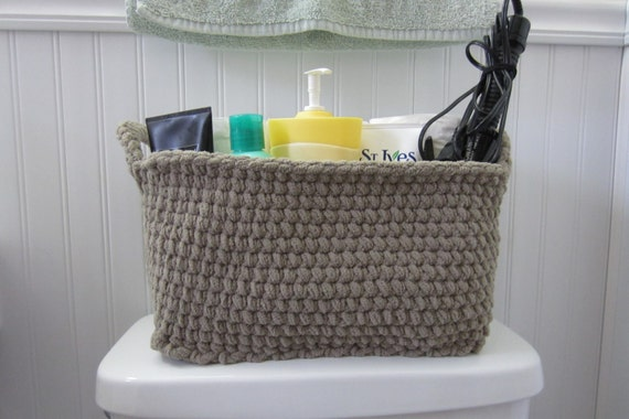 Large Storage Bin Storage Basket Crocheted Box Rectangle