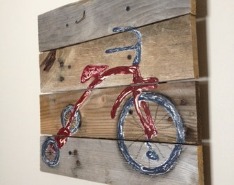 Small Tricycle,14X14,pallet art,planks,bicycle,Vintage,radio flyer,bike art,boy bike,baby boy's room,child's bedroom,nursery wall art