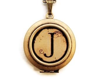 Vintage Alphabet Locket - Monogram Initial Locket Necklace