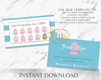 Blue|Pink|Striped|Bakery Business Cards|Cupcake Business Card|Bakery Branding|Marketing|Cupcake Shop|Coffee Shop|Sweets|Loyalty|Punch
