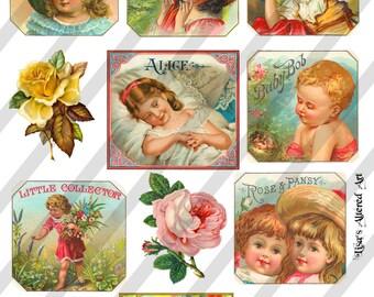 Digital Collage Sheet  Vintage Labels with Children (Sheet no. O215)-Instant Download
