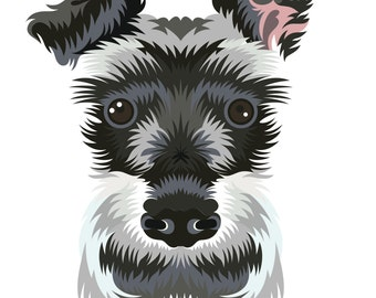 Schnauzer. Cross Stitch pattern, Digital Download PDF. Geometric print of a schnauzer with color patches. Modern in design