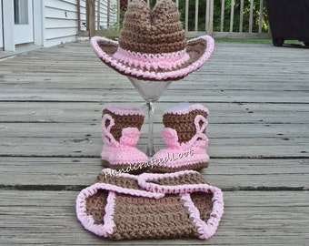 Baby Cowgirl Photo Prop Newborn Crochet Cowboy Cowgirl Hat Pink Baby Girl Outfit Boots Photo Prop Set Outfit Newborn Girl Costume Shower