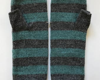 Fingerless mittens stripe USA made wool charcoal and teal green