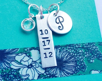 Date Necklace, Mommy Necklace, Personalized Necklace, Special Date Necklace, Silver Monogram Necklace