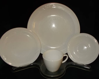 Vintage Dinnerware Set Corning Ware Pyroceram Whispering Mist Service Four 16 Pc Plate Cup Saucer White & College dorm | Etsy