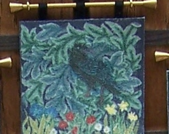 Dollhouse Wallhanging, The Raven Miniature Tapestry, William Morris Arts and Crafts, The Forest Tapestry, 1:12 scale dolls house
