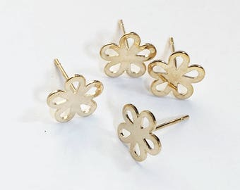 20 pcs of gold plated steel flower ear studs, bulk flower ear studs