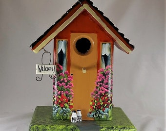 Orange Birdhouse , Handmade , Hand Painted , with Clean Out