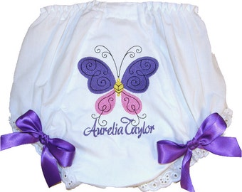 Personalized Baby Girl Diaper Cover, Bloomers Beautiful Butterfly Design Purple  Bows