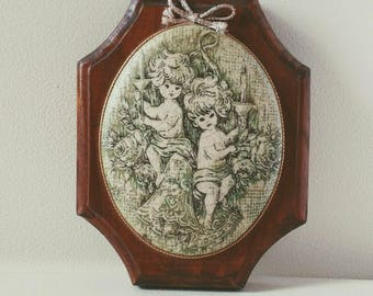 Domed Glass Bead 1970s Cherub Plaque // Unique // Vintage Boho Decor