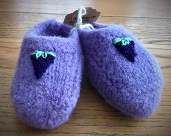 Hand Knit Felted Wool Baby Bootie
