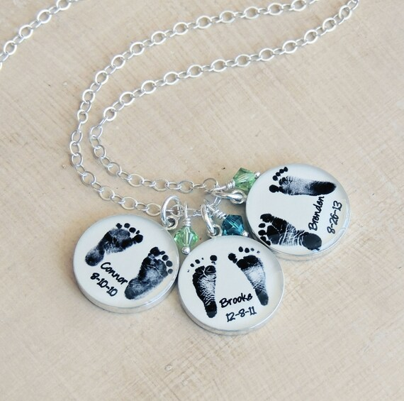Baby footprint necklace with birthstone mothers day jewelry aloadofball Choice Image