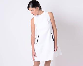 Resort Wear, Black and White Dress, White Summer Dress, Holiday Dress White Party Dress Sleeveless Dress White Mini Dress Short Sleeve Dress