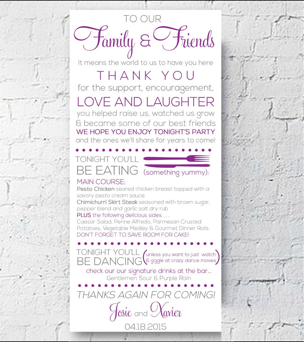 Wedding Table Setting Card Thank You Menu Card Modern Glam
