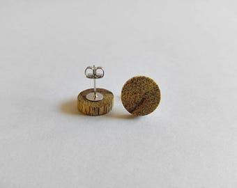 Wooden Stud Earrings, Persimmon Wood,Earrings for Women, Gift For Her, Wooden Earrings, Minimalist Earrings, Wooden Jewelry, Unique Earrings